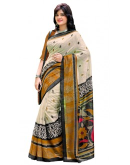 Casual Wear Beige Cotton Silk Saree  - RKVI7003