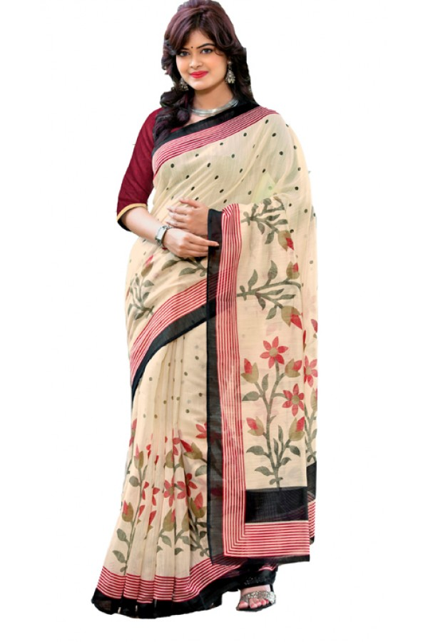 Party Wear Beige & Pink Cotton Silk Saree  - RKVI7006