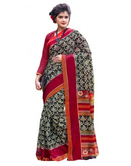 Casual Wear Black & Maroon Cotton Silk Saree  - RKVI7007