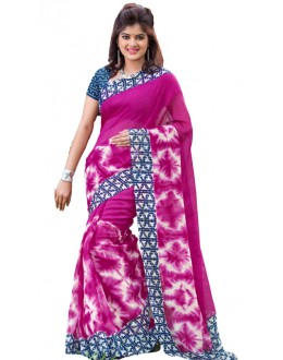 Party Wear Pink & Blue Cotton Silk Saree  - RKVI7009