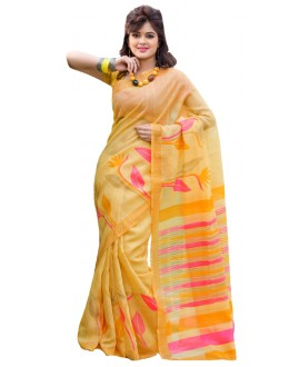 Casual Wear Yellow & Pink Cotton Silk Saree  - RKVI7011