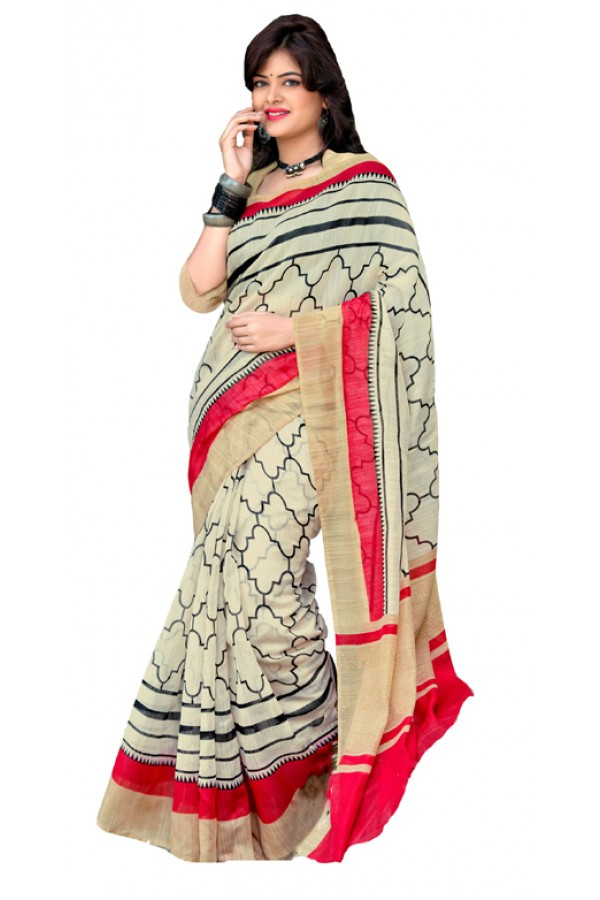 Casual Wear Off White & Red Cotton Silk Saree  - RKVI7013