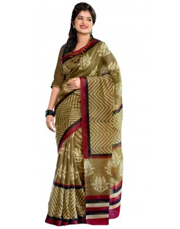 Party Wear Green & Maroon Cotton Silk Saree  - RKVI7016
