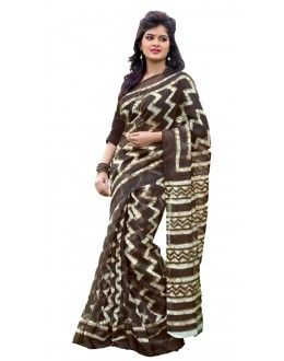 Party Wear Brown & Beige Cotton Silk Saree  - RKVI7019