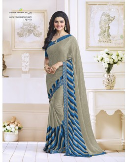 Prachi Desai In Beige Satin Saree  - RKVF17614A