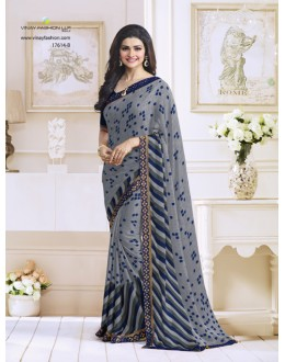 Prachi Desai In Grey Satin Saree  - RKVF17614B