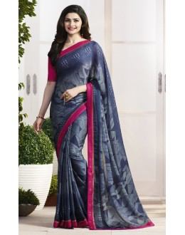 Prachi Desai In Blue Satin Saree  - RKVF17972