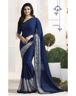 Prachi Desai In Blue Satin Saree  - RKVF17976