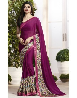 Prachi Desai In Magenta Satin Saree  - RKVF17977