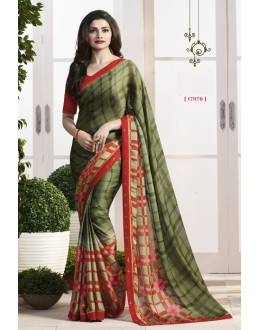 Prachi Desai In Green Satin Saree  - RKVF17978