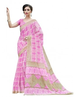 Festival Wear Pink Cotton Silk Saree  - RKVI4001