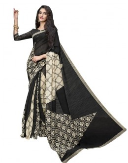Ethnic Wear Black & Beige Cotton Silk Saree  - RKVI4002