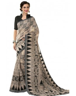 Ethnic Wear Peach & Black Cotton Silk Saree  - RKVI4007