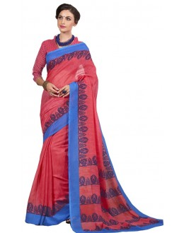 Festival Wear Red & Blue Cotton Silk Saree  - RKVI4008