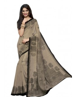 Ethnic Wear Grey & Black Cotton Silk Saree  - RKVI4014