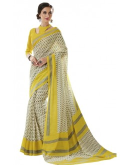 Casual Wear Off White & Yellow Cotton Silk Saree  - RKVI4016