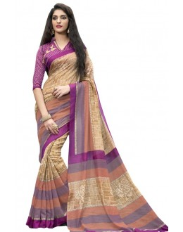 Ethnic Wear Beige & Pink Cotton Silk Saree  - RKVI4017