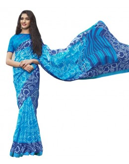 Festival Wear Sky Blue Cotton Silk Saree  - RKVI4018