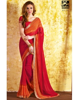 Ethnic Wear Red Georgette Saree  - RKVSL6175