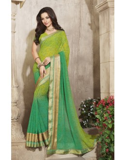 Casual Wear Green Georgette Saree  - RKVSL6573