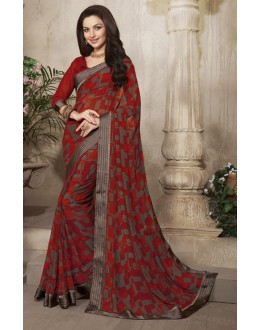 Ethnic Wear Red Georgette Saree  - RKVSL6585