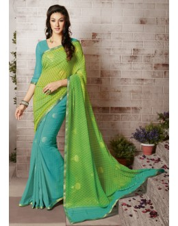 Multi-Colour Georgette Half & Half Saree  - RKVSL6795
