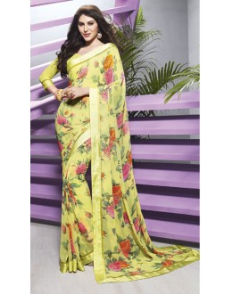 Ethnic Wear Yellow Georgette Saree  - RKVSL6978