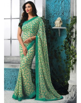 Festival Wear Green Georgette Saree  - RKVSL6979