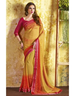 Ethnic Wear Yellow Georgette Saree  - RKVSL6982