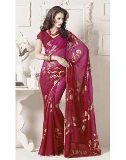 Pink Colour Georgette Printed Saree  - RKVSL6991