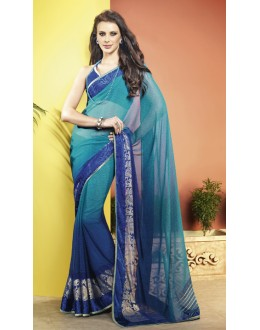 Blue Colour Georgette Printed Saree  - RKVSL7150