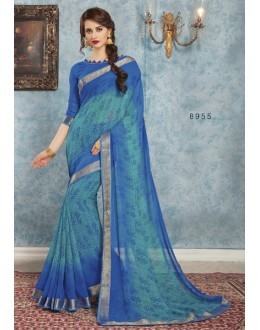 Ethnic Wear Blue Georgette Saree  - RKVSL8955