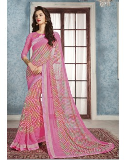 Georgette Pink Colour Printed Saree  - RKVSL8957