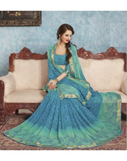Festival Wear Blue Georgette Saree  - RKVSL8962