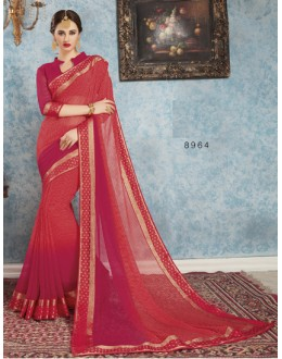 Ethnic Wear Red Georgette Saree  - RKVSL8964