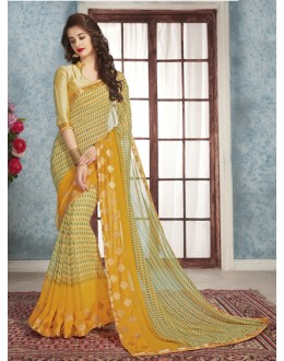 Casual Wear Yellow Georgette Saree  - RKVSL8966