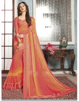 Ethnic Wear Orange Georgette Saree  - RKVSL8977