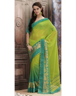 Party Wear Green Georgette Saree  - RKVSL9125