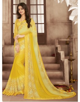 Casual Wear Yellow Georgette Saree  - RKVSL9172