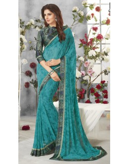 Georgette Green Colour Printed Saree  - RKVSL9257