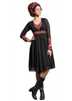 Fancy Readymade Black Georgette Kurti - 60006