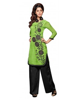 Party Wear Readymade Parrot Green Kurti - 60012