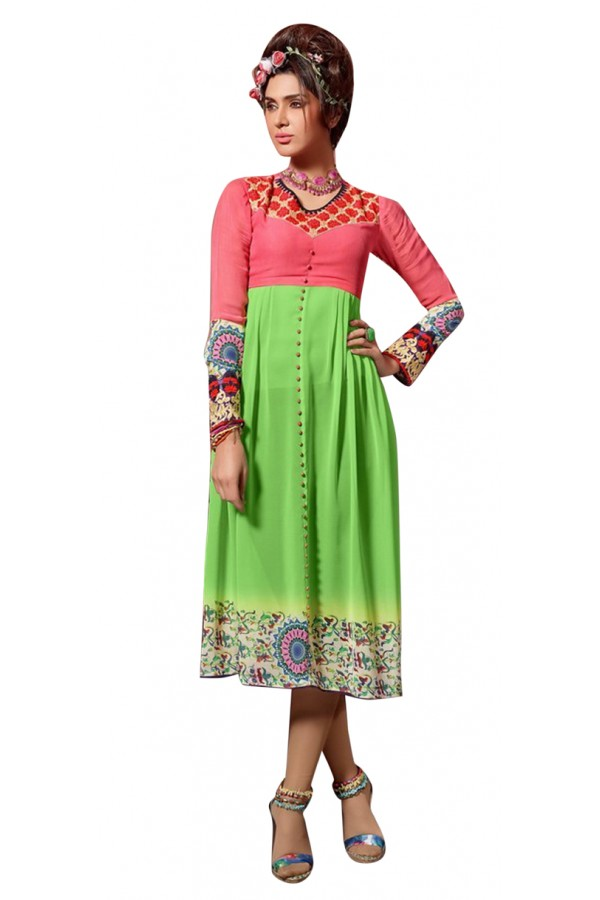 Party Wear Readymade Pink & Green Kurti - 60015