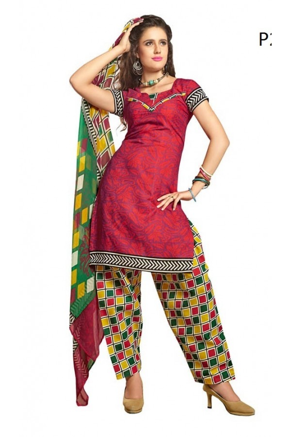 Casual Wear Multicolour Cotton Salwar Suit - P2
