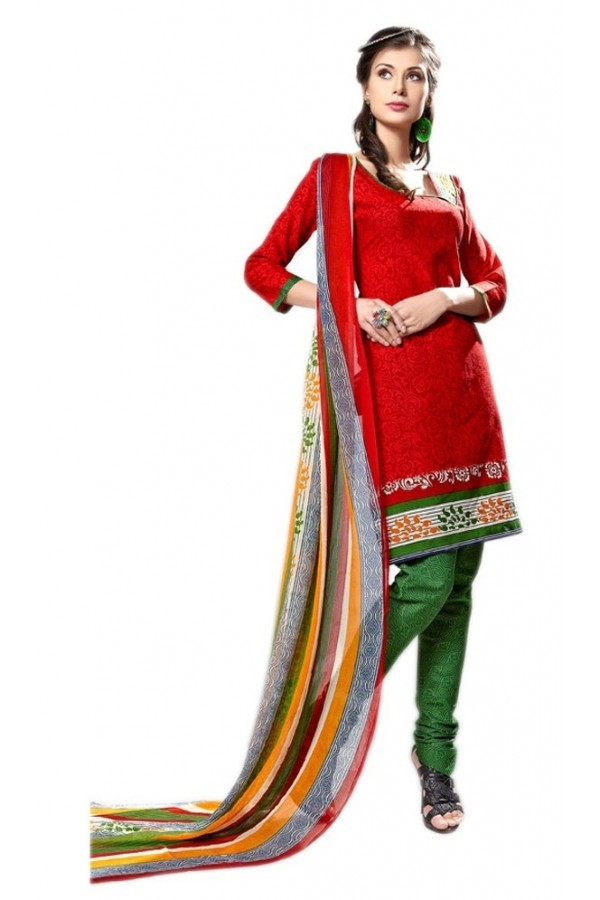 Casual Wear Red & Green Cotton Salwar Suit - P4