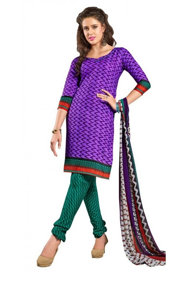 Casual Wear Purple & Green Cotton Salwar Suit - P7