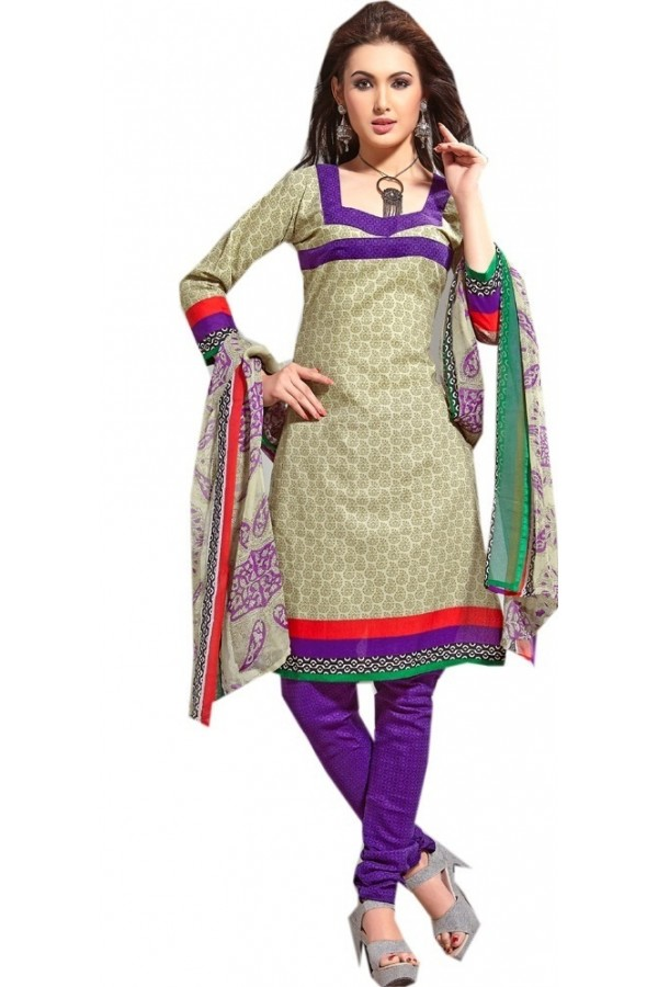 Casual Wear Multicolour Cotton Salwar Suit - P16
