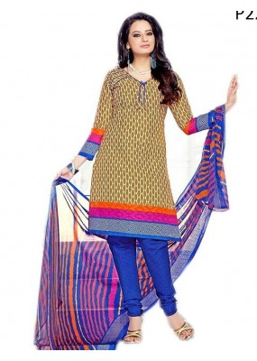 Casual Wear Brown & Blue Cotton Salwar Suit - P22