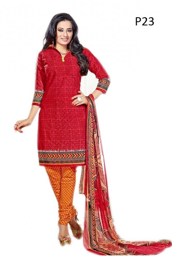 Casual Wear Red & Orange Cotton Salwar Suit - P23
