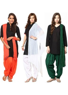 Party Wear Tri Color Salwar Dupatta Combo -101